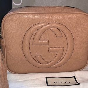 Rose Beige Leather Gucci Soho Disco Crossbody Bag